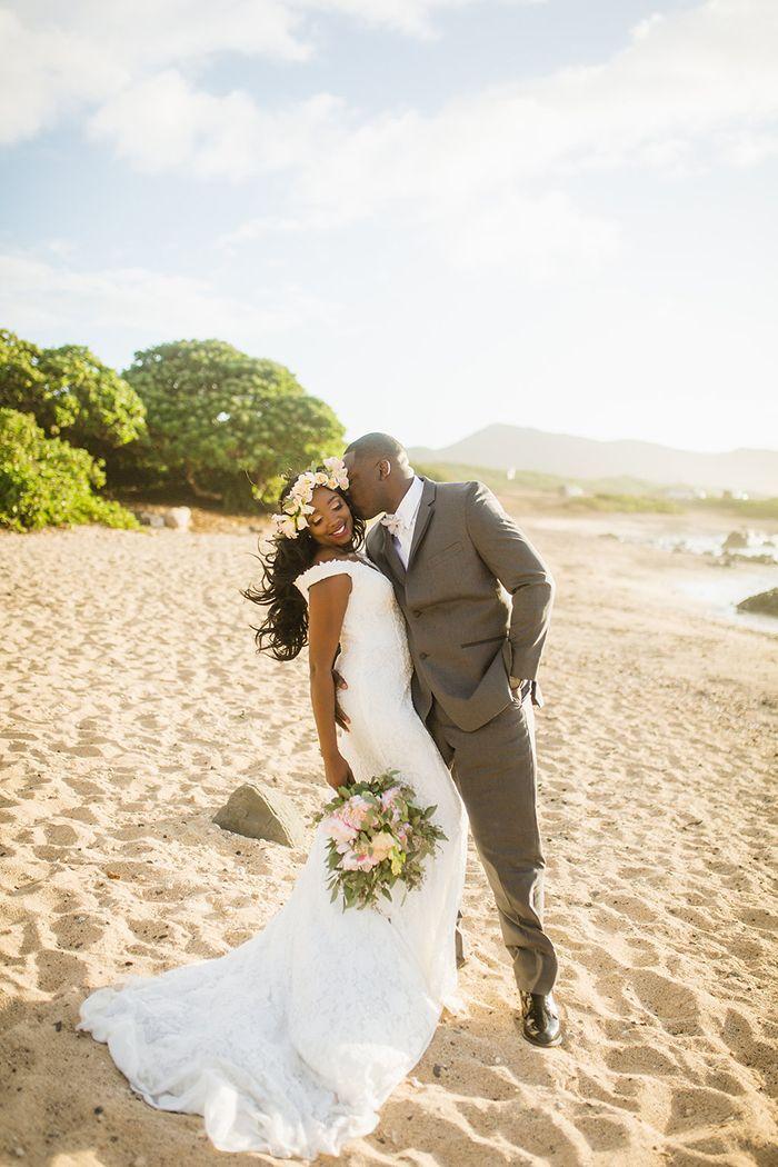 Radiant Newlyweds at an Intimate Wedding Celebration in Hawaii    #wedding #beachbride #bride #hawaii #destinationwedding #beachwedding #weddingdress