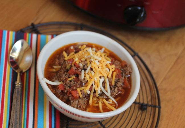 This easy slow cooked chili without beans is a recipe your family is sure to love. Use lamb or venison meat instead of ground beef. Skip the cheese. Chili Hannah can have. :) Of course, always read labels on can goods to avoid allergens.