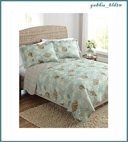 picturesque better homes and gardens quilts. Coastal Seashells Stripe Aqua Bedding Quilt Reversible Twin Bedroom Decor  Queen QuiltBetter Homes And GardensQuilt 12 best images on Pinterest Clam shells Sea and