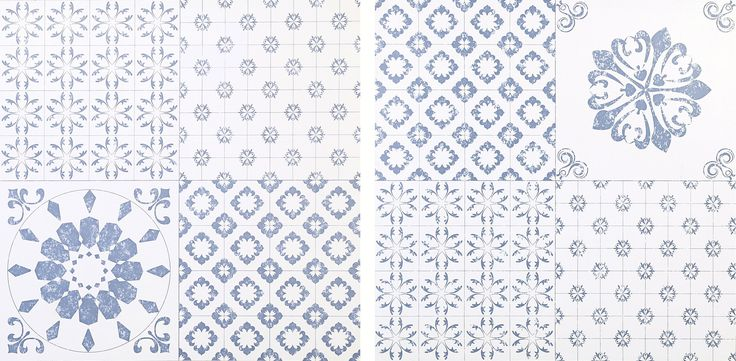 Colours Blue & White Patchwork Effect Self Adhesive Vinyl Tile Pack 1.02m² | Departments | DIY at B&Q
