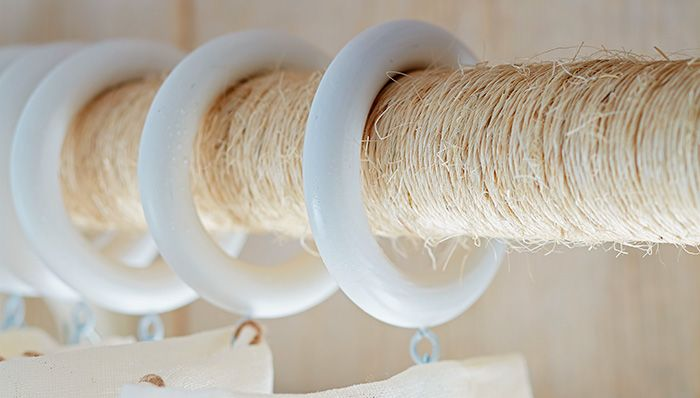 Wrap a curtain rod in jute for contemporary cottage style. -- Lowe's Creative Ideas