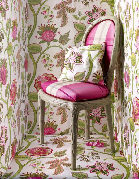 Manuel Canovas Floral Wallpaper In Peony Pink And Nettle Green, Can Be  Purchased Through Jane Hall Design