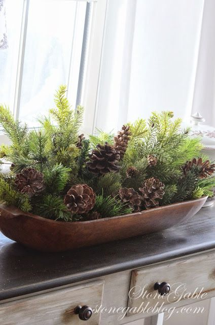 Last minute Christmas decorating ideas using greens and twigs and pinecones {from StoneGable blog}