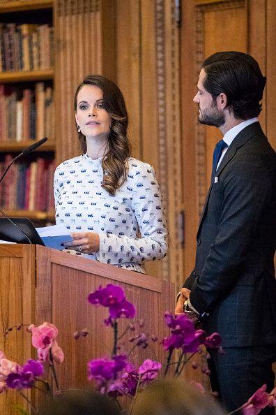 Princess Sofia of Sweden delivered a speech as Prince Carl Philip looks on, during a symposium on 'Dyslexialand' at the Royal Palace on November 21, 2017 in Stockholm, Sweden.