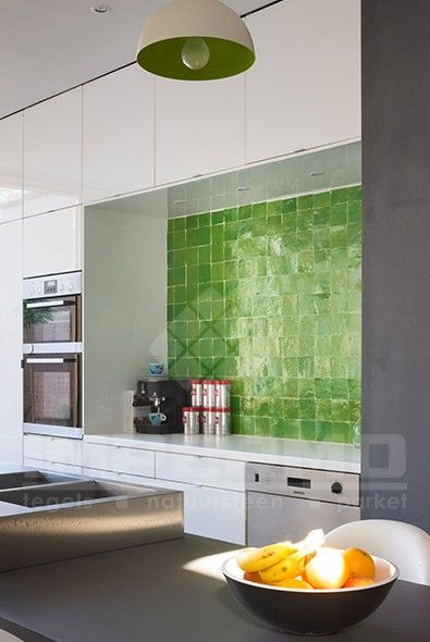 Groene Keuken Tegels : zellige, groen, groene zelliges, keuken, impermo, marokkaanse tegels