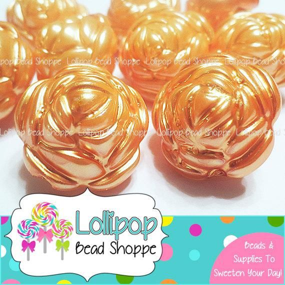 10 Acrylic Flower Beads 25mm Transparent Dark Amber
