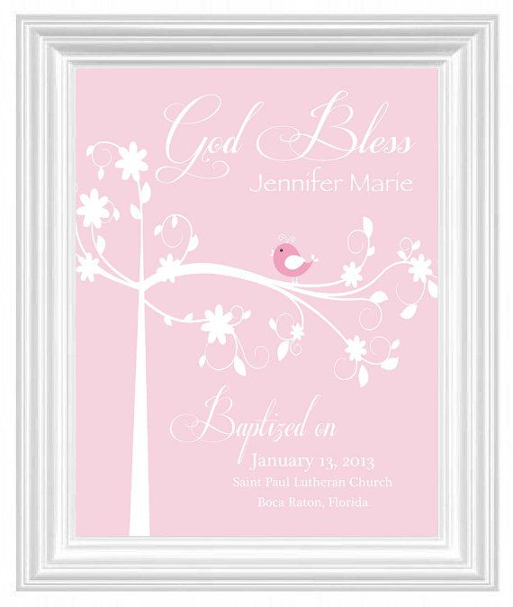 50 best christening gift ideas images on pinterest baby presents baptism gift christening gift personalized wall print for nursery custom name print bird negle Images