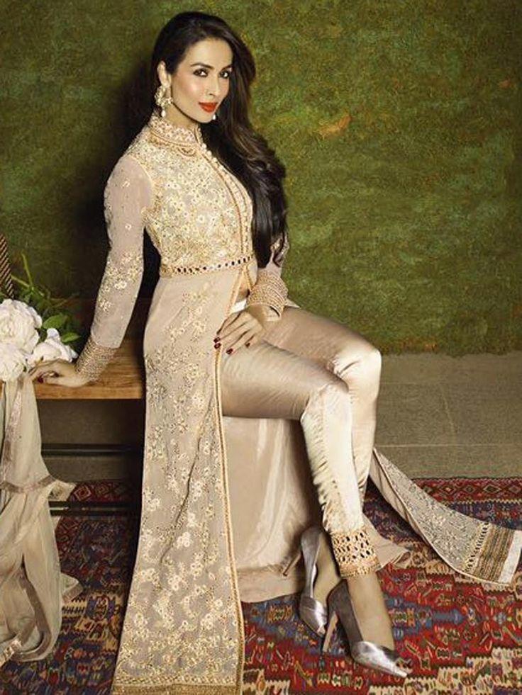 Off-White+Color+Front+Open+Heavy+Embroidery+Work+Designer+Anarkali+Salwar+Kameez+Suit