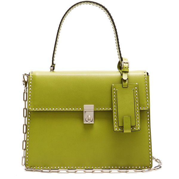 Valentino Rockstud Spike leather tote (860.165 HUF) ❤ liked on Polyvore featuring bags, handbags, tote bags, green tote bag, tote purses, leather tote purse, over the shoulder purse and green leather tote