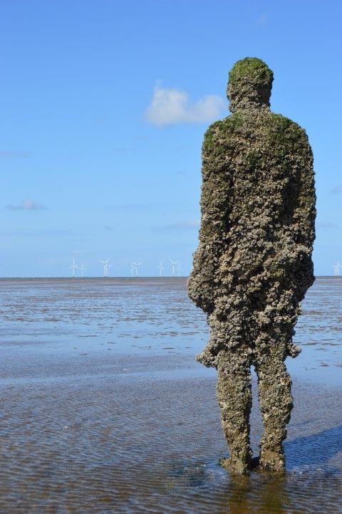 Crosby Beach is a vast open expanse animated by the passage of ferries, the whir of occasional helicopters and the constant raw screech of gulls spanning an icy blue sky. Description from sculpturescript.com. I searched for this on bing.com/images