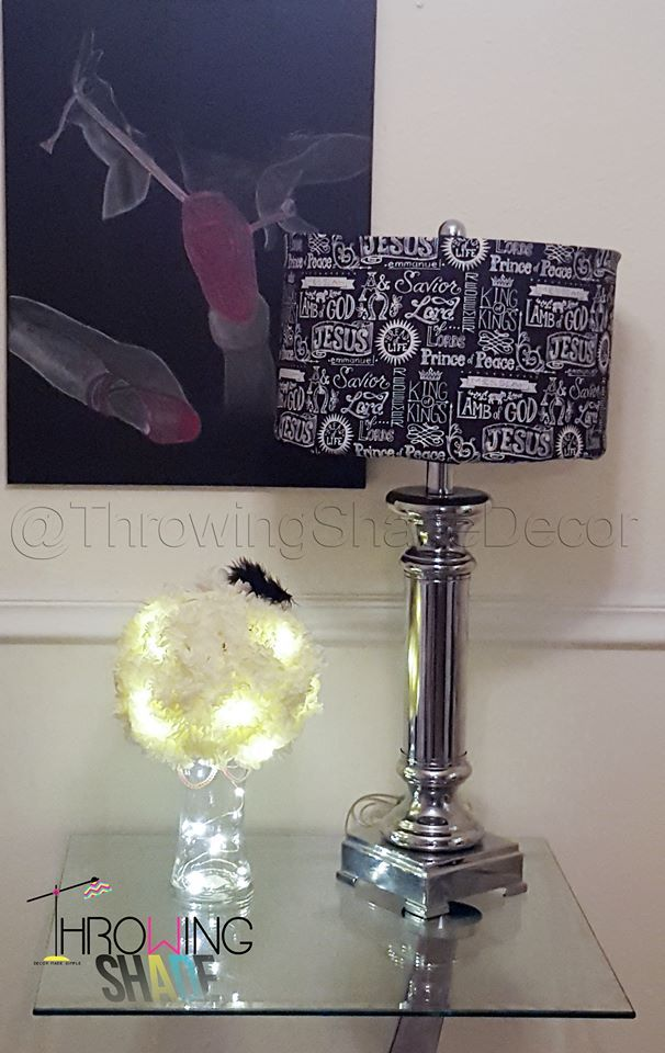 17 best lamp shade slip covers images on pinterest lamp shades lamb of god lamp shade slip cover features spiritual words of encouragement also included is our white carnation kissing ball fish bowl center piece mozeypictures Gallery
