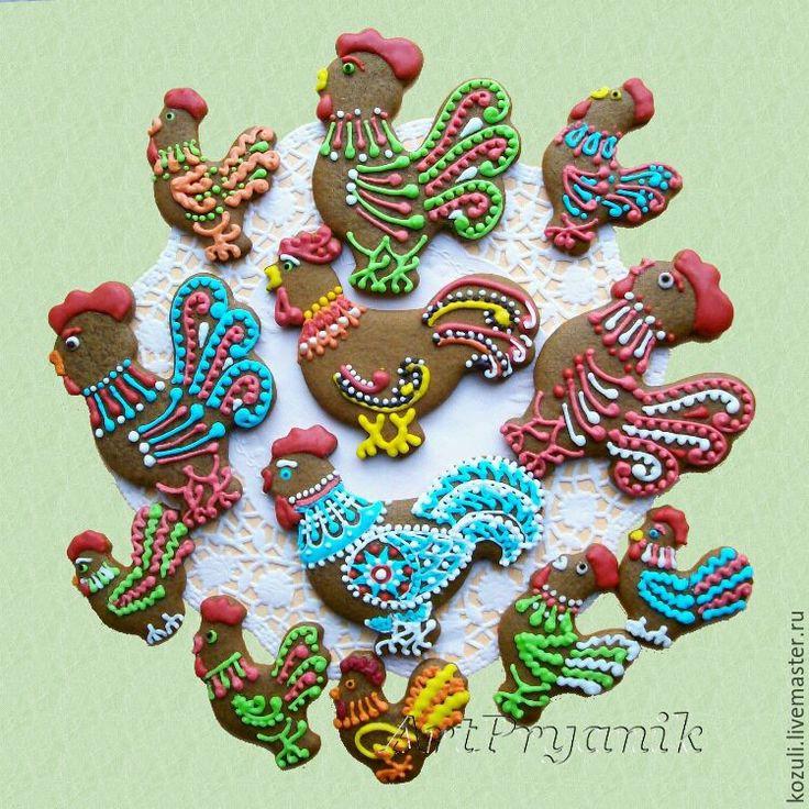Купить Новогодние козули Петушки, символ Нового года 2017, имбирное печенье - Архангельские Козули