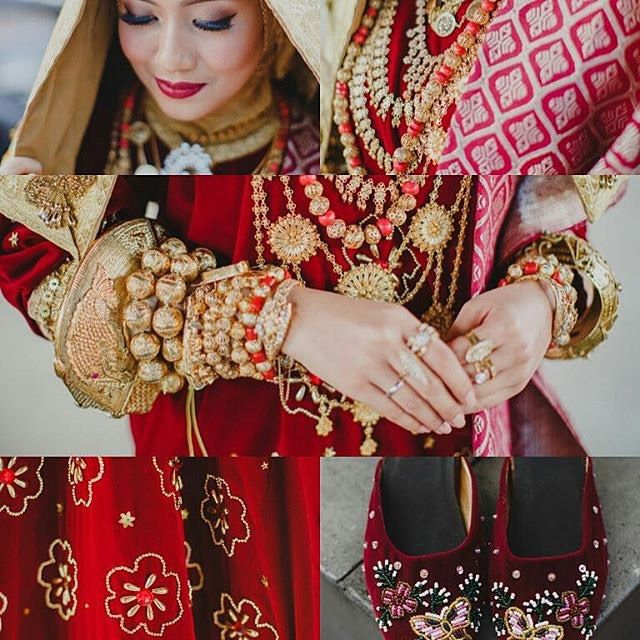 Pengantin #kotogadang dari sumatra barat ini mengenakan baju kurung dan tidak menggunakan suntiang melainkan veil berwarna gold tersebut. Photo by: @daisyadr #hijabandbride #traditionalwedding #inspiration #moslembride by hijabandbride