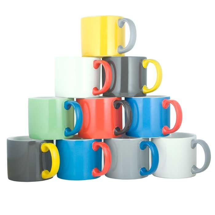Jansen+Co.'s My Mug XL.  Mix and match according to whim for a customized set. The high-quality ceramic pieces are hand finished and dishwasher and microwave safe.