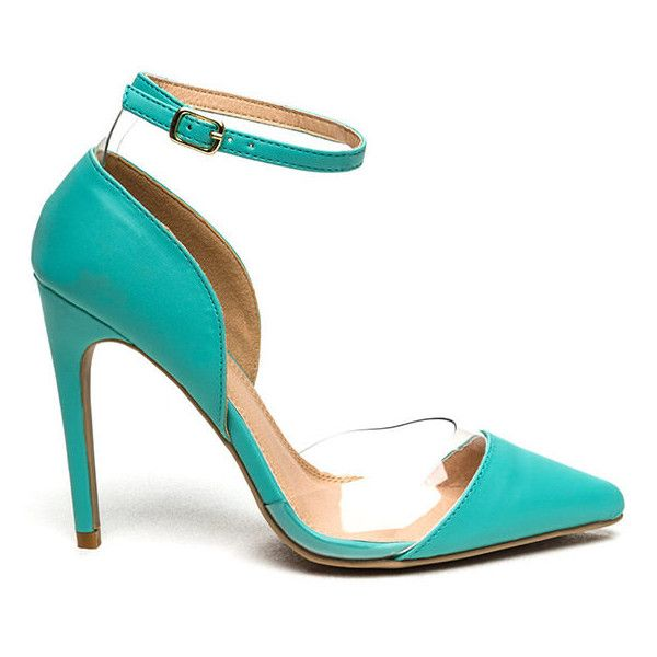 Abundantly Clear Pointy Strappy Heels MINT ($17) ❤ liked on Polyvore featuring shoes, sandals, green, strappy high heel sandals, strappy stilettos, green shoes, clear sandals and green sandals
