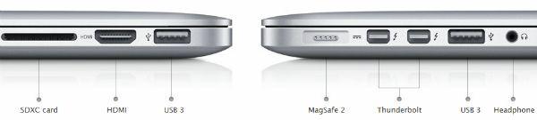 Apple asegura que el nuevo MacBook Pro con Retina Display estaría ofreciendo hasta 7 horas de batería con una sola cargada y que duraría hasta 30 días en Standby. Adicionalmente, el nuevo computador de Apple cuenta con 2USB 3, 2 Thunderbolt, HDMI, lector de tarjeta SD y tiene un nuevo conector de electricidad llamado MagSafe 2, el cual es un poco mas delgado que la anterior versión.