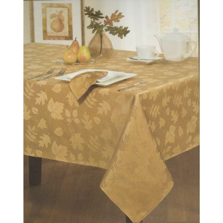 Homewear Bountiful 60 x 84 Oblong Tablecloth + 6 Napkins Gold