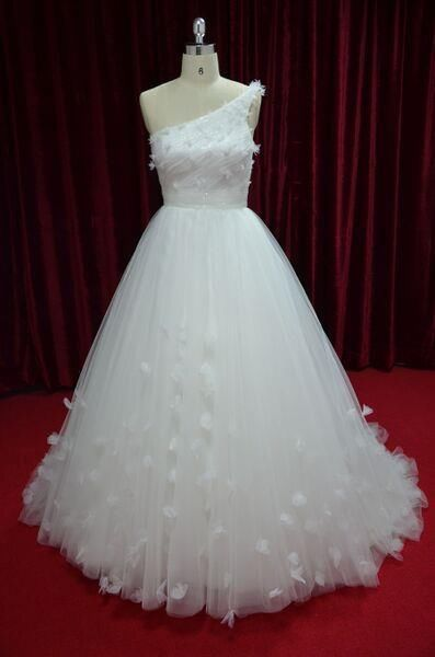 One-Shoulder Lace Bridal Ball Gown Wedding Dress with Sweep Train  JY13017