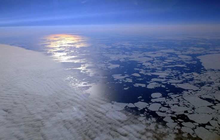 Sea Ice and Sun Glitter Path - Earth Science Picture of the Day - H. Joachim Schlichting.