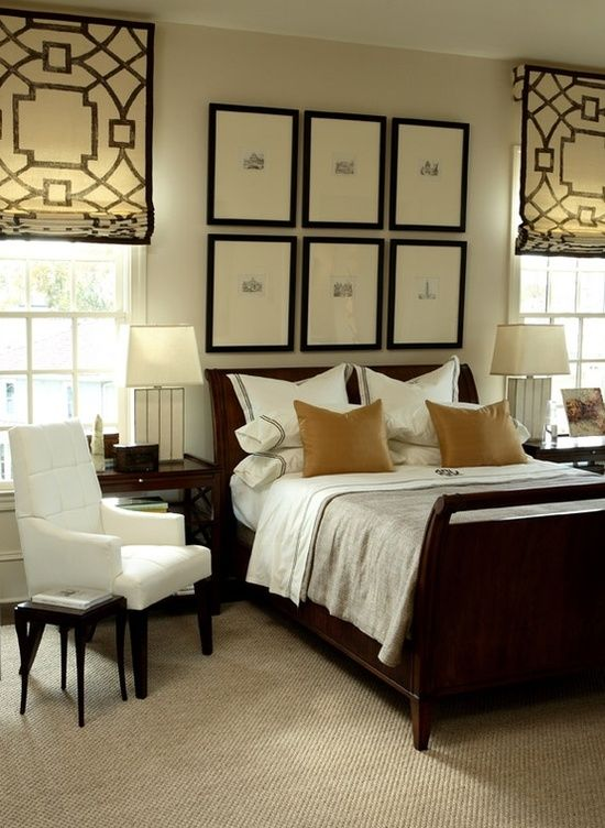 Master Bedroom Repetition Black Frames Blinds With Cozy Comforts Lots Of White For