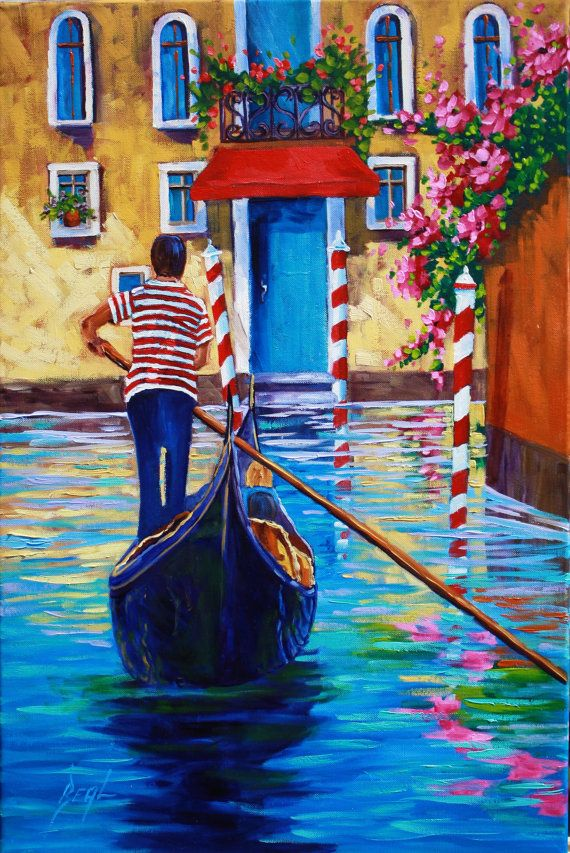 Venice Canal Original Landscape In Training Oil By