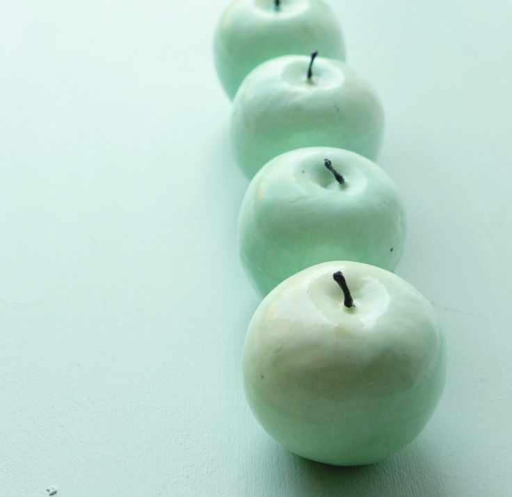 Vintage mint green apple SET of four by whichgoose on Etsy-paint some cheap apples to match your color scheme