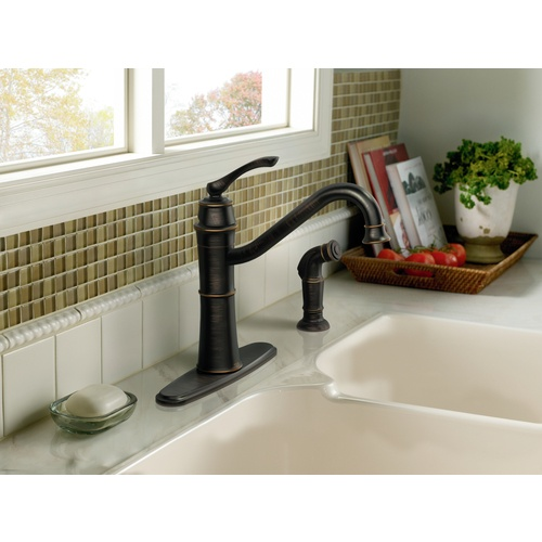 Zoomed: Moen Wetherly Mediterranean Bronze 1-Handle High-Arc Kitchen Faucet with Side Spray