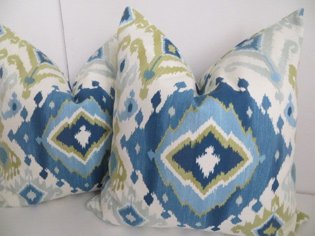 Ikat Blue And Cream Pillow Covers, Sky Blue Pillow Cover,Cream Blue Pillows,Teal And Lime Green Pillow Covers, Ikat Pillow covers by ClavelFashion on Etsy https://www.etsy.com/listing/187567404/ikat-blue-and-cream-pillow-covers-sky