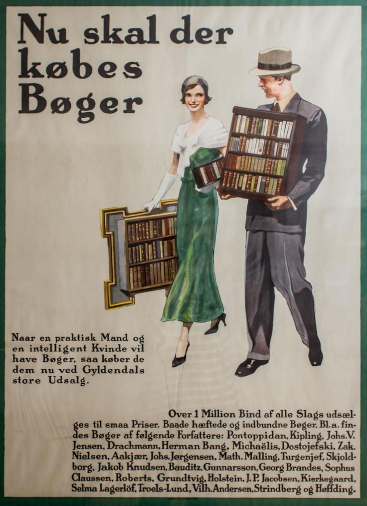 Nu skal der købes Bøger! Og sikke de slæber, det meget elegante par. Denne plakat pryder væggen så fint i marketing.