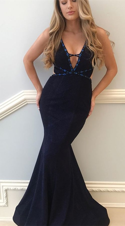 76a38140936e Mermaid V-Neck Floor-Length Navy Blue Prom Dress with Beaing by RosyProm,  $132.04 USD