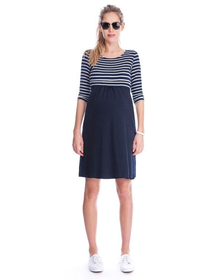 Sparkle Striped Nursing Dress | Seraphine | Nautical maternity dresses | Striped maternity dresses | Stylish maternity and nursing clothes