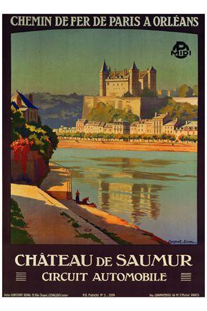 Chateau de Saumur vintage poster G90259 , Vintage Poster Market : Online Architecture Posters & art illustrations, old reproduction