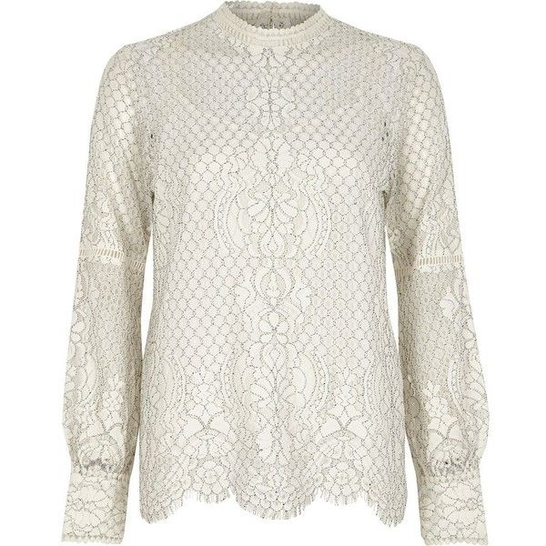 River Island White lace high neck long sleeve top ($70) ❤ liked on Polyvore featuring tops, blouses, white, women, long white blouse, lace trim blouse, long sleeve lace top, white blouse and button blouse