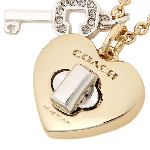 "✨COACH necklace ✨COACH turn lock heart and key long necklace.  Yellow gold color chain measures 32"" long.  Yellow gold color heart with silver color turn lock and silver key with crystal accents.  Brand new with tag, Coach gift box, and jewelry care book.  Beautiful necklace!  PRICE IS FIRM (sorry, I can't go any lower on this item). Coach Jewelry Necklaces"