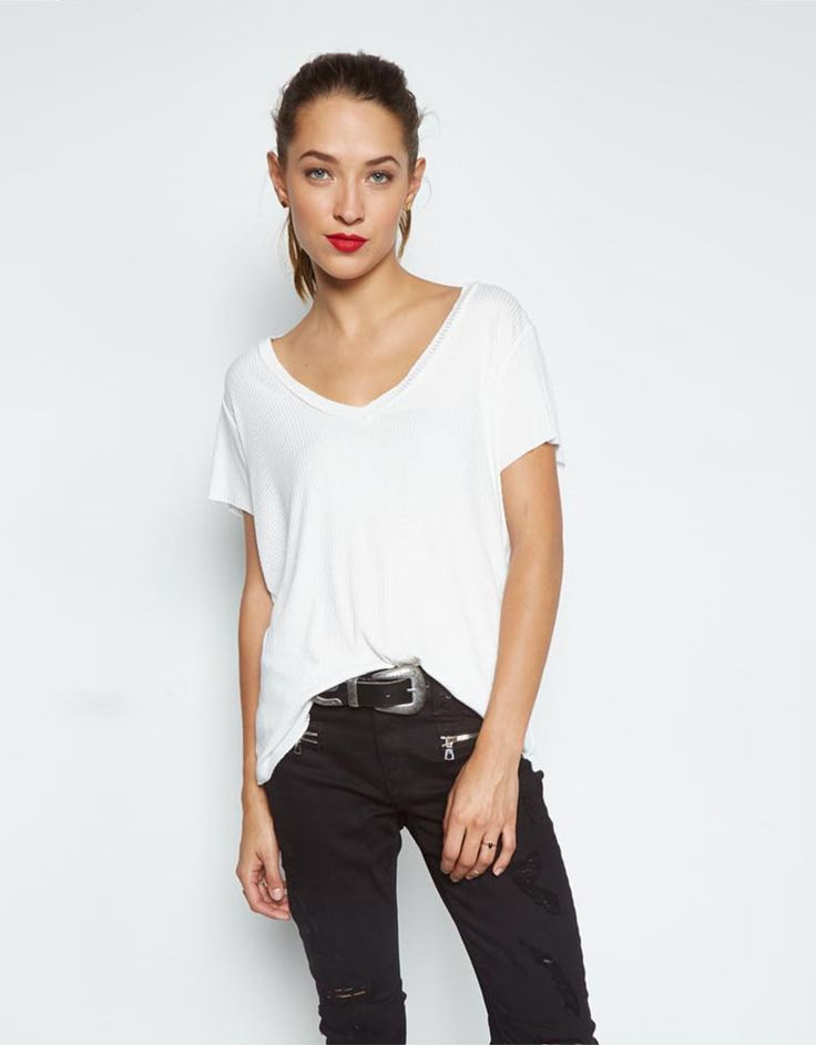 Michael Lauren Miller Raw Edge V-Neck Tee