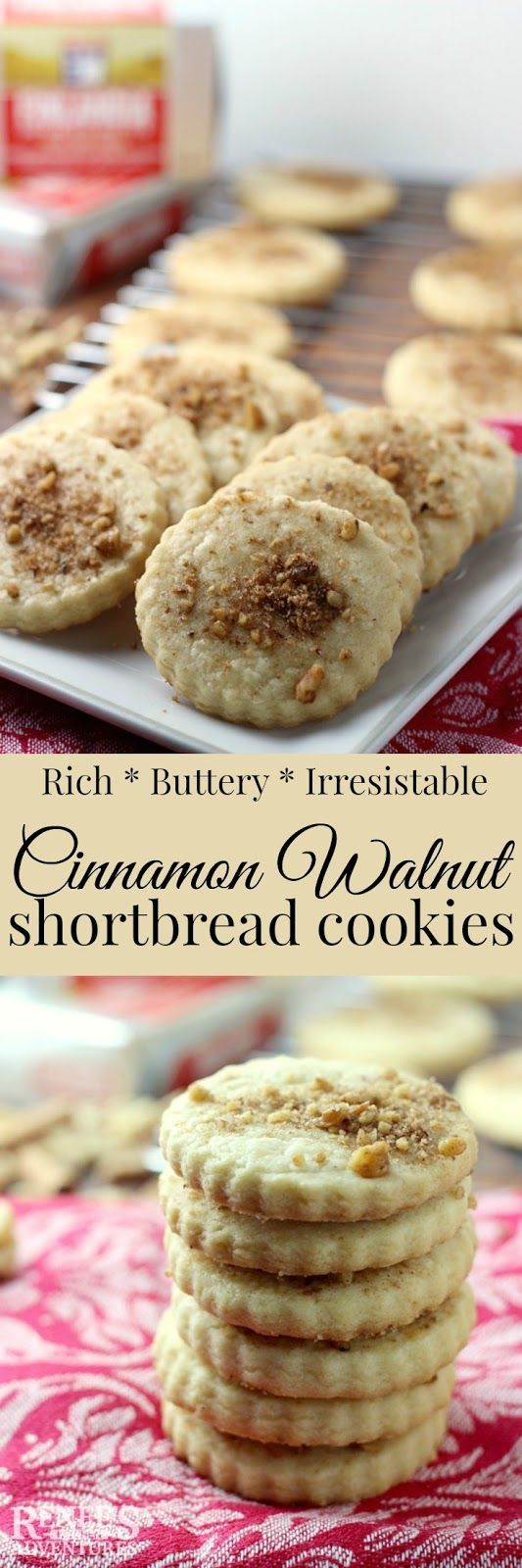 Cinnamon Walnut Shortbread Cookies | Easy cookie recipe for butet cinnamon walnut topping. Perfect for the holidays or Christmas cookie tray. #ad #FinlandiaButter @finlandiacheese