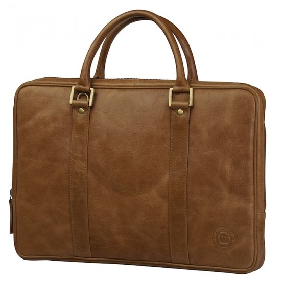 "Golden tan leather briefcase w. handles for PC & MacBooks. Available in sizes 13"" - 15"". Price: $220. More information: www.dbramante1928.com."