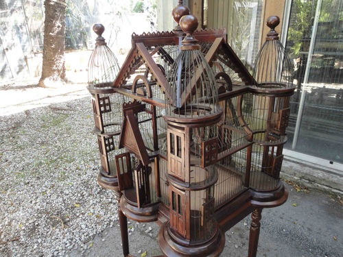 Antique Authentic Victorian Bird Cage Circa 1880-1900 Gabled Roof With Table
