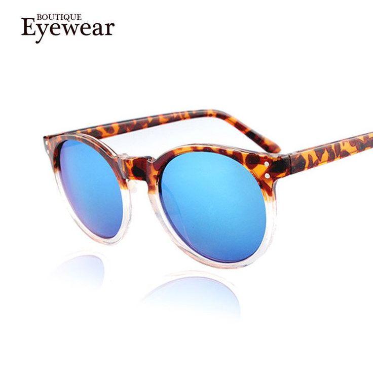 DZW Lunettes de soleil de mode pour dames Trendy Glasses Ultra Light Reflective Circular Mirror , blue