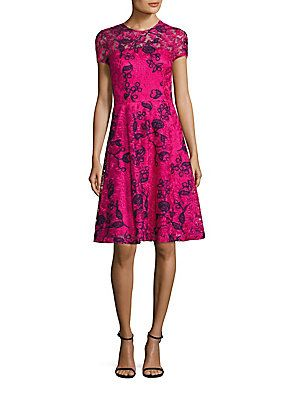 David Meister Embroidered Lace Fit & Flare Dress