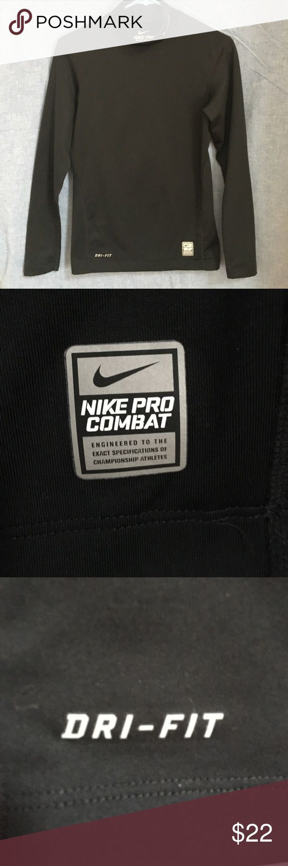 Nike Pro Combat Dri-Fit Compression Mock Shirt SM Nike Pro Combat Dri-Fit Compression Black Mock Neck Long Sleeve Shirt Size Small. In excellent, like new condition. Nike Pro Combat jock tag at front left hem and Dri-Fit trademark heat transfer at front right hem. Embroidered Swoosh design trademark on left neck. Nike Shirts Tees - Long Sleeve