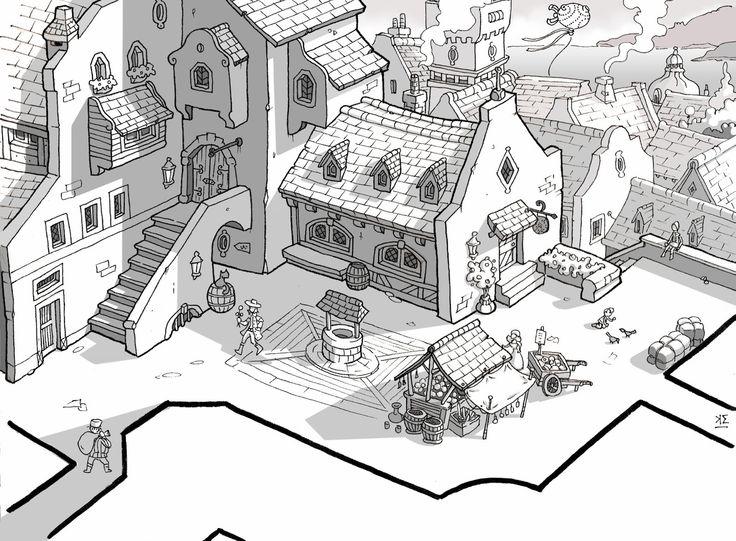 Town illustration concept art