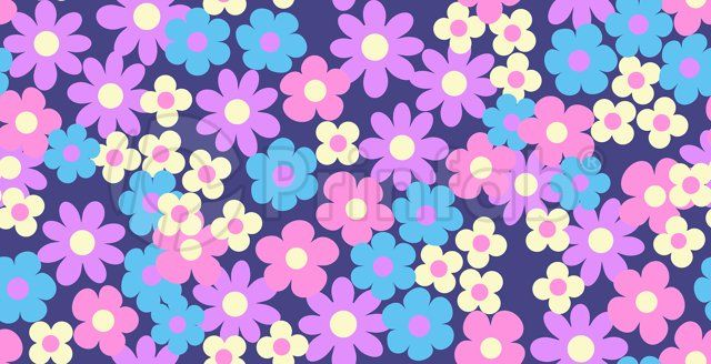 """Daisy Cluster on Navy"" fabric from Prinfab®. Credit: alice apple. URL: https://prinfab.com/product/view/3EGVsB. Description: A mod and fun print with pretty daisies on a navy background.. Keywords: retro, vintage, daisy, 60s, 70s, ditsy, pretty, blue, floral, flower"