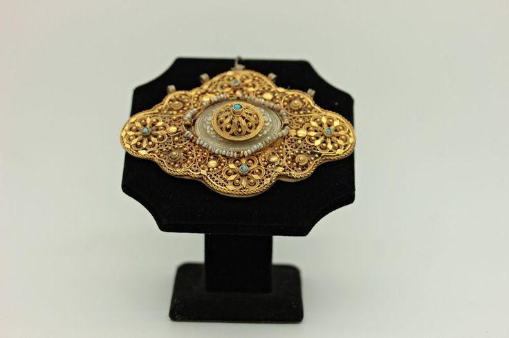 ANTIQUE ORIGINAL PERFECT SILVER 22K GOLD FILIGREE OTTOMAN BELT BUCKLE