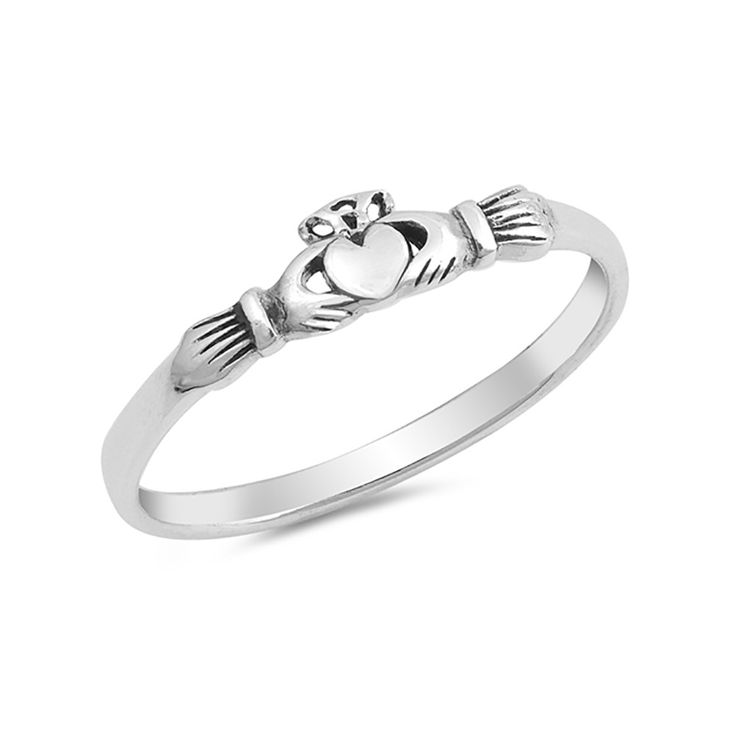 Petite Dainty Claddagh Ring Band Simple Plain 925 Sterling Silver Irish Promise Ring Mini Claddagh