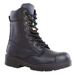 Women's Black Work Boots Anne 8″ Waterproof Work Boot $145.99 Waterproof, Steel toe Composite plate, Rust proof gun metal eyelets Tri-tex® Waterproof breathable lining Two Density PU midsole Removable EVA insole Slip and Oil Resistant PU Outsole CSA approved Grade 1 ESR/EHMeets or exceeds ASTM F2413-05 requirements