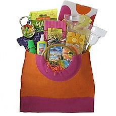 Life Is A Beach Gift Basket - Life's a beach with this tote filled with everything you need for a summer vacation.  Our large summer jute wood  beach tote features a colorful beach towel, drink mixes, drink glasses, snacks, and more.  There's even sunscreen to protect you from the rays! http://bestgiftbasketswithstyle.com/life-is-a-beach-gift-basket.html