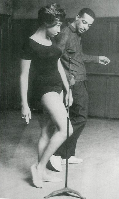 Cholly Atkins coaches a 19 year-old Aretha Franklin for an appearance at the Apollo Theater, circa 1960