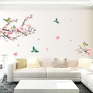 muurstickers muur stickers perzik bloesem en eksters zijn voorzien van afneembare wasbare pvc – EUR € 8.15