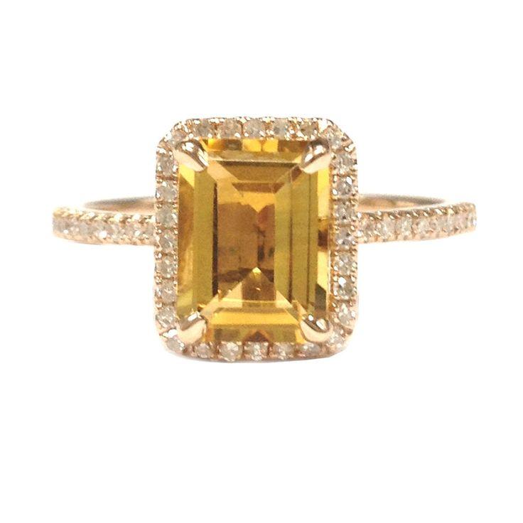 6x8mm Emerald Cut Citrine Engagement Wedding Diamonds Halo Ring 14K Rose gold $419